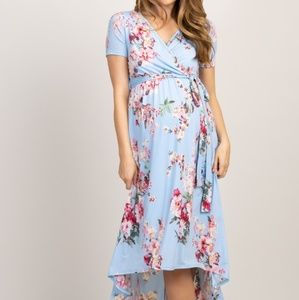 Pink Blush Blue Floral HiLo Maternity Dress XL